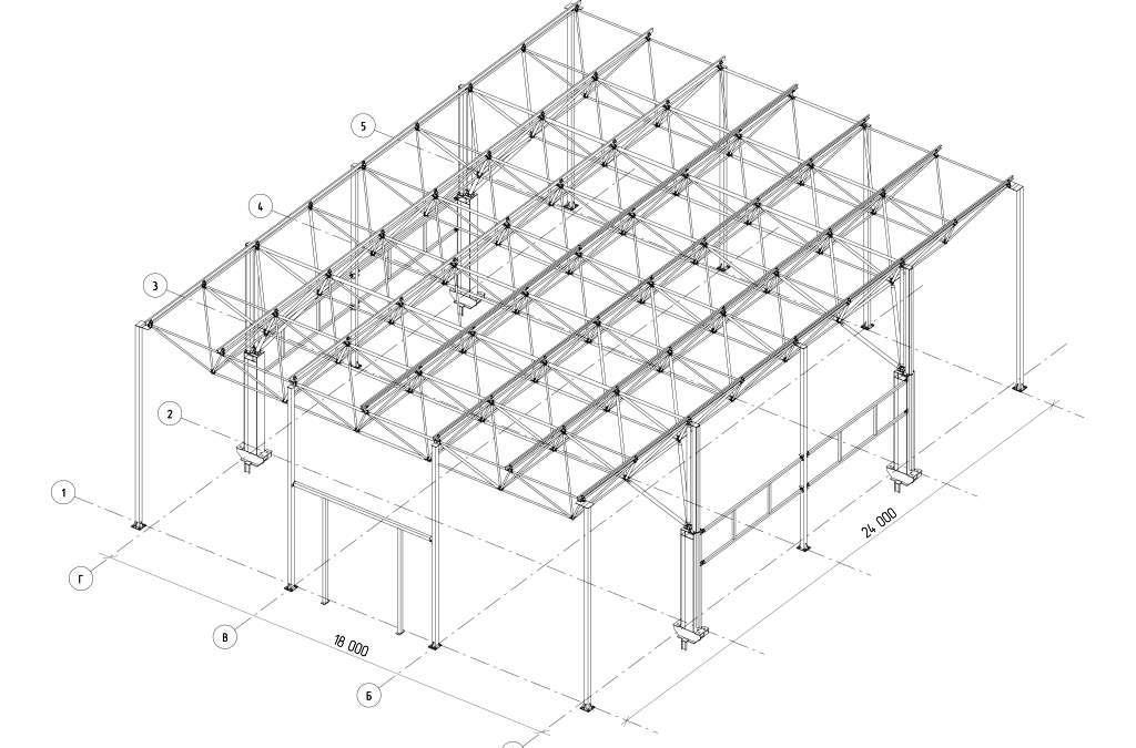 Одноэтажное промышленное здание с пролетом 18 м.купить комплект чертежей принципиальных решений  металлических конструкций  50.000 руб.